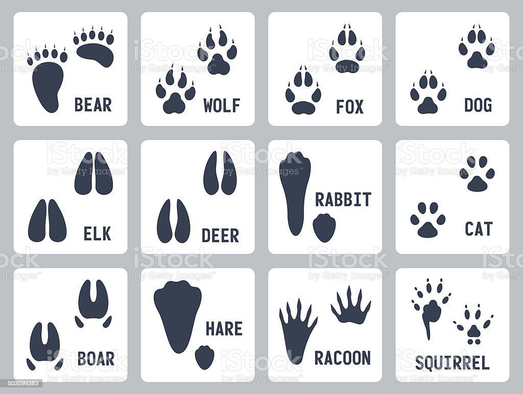 Animal tracks vector icons set vector art illustration