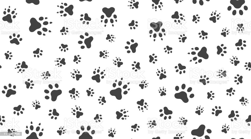 Animal tracks vector seamless pattern with flat icons. Black white...