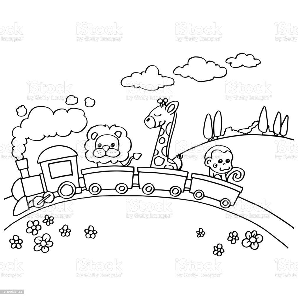 Hayvan Tren Boyama Vektör Stok Vektör Sanatı Animasyon Karakter