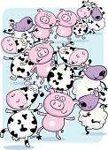 Pig, sheep and cows in a little happy animal train.