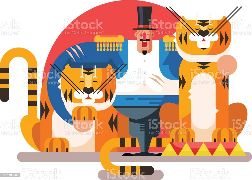 Animal trainer with tiger vector art illustration