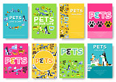 Animal vector brochure cards set. Home pets template of flyer, magazines, posters, book cover, banners. Wildlife invitation concept  background. Layout domestic illustrations modern page.