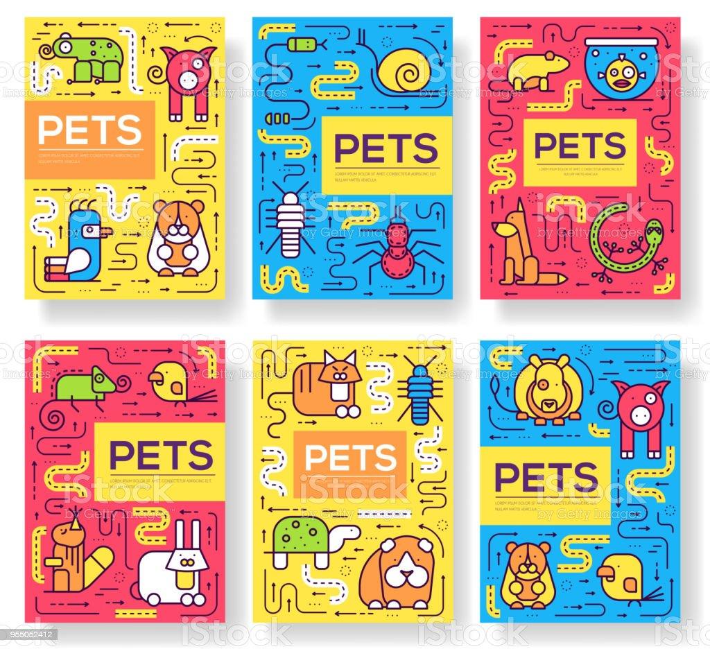Ilustración de Tarjetas De Vectores Animales Folleto Delgada Línea ...