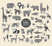 Cute Animal Vector illustration Icon Set. Monochrome Collection of  cartoon animals, birds and sea creatures.