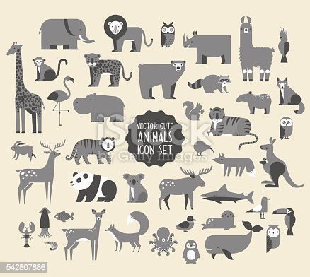 Cute Animal Vector illustration Icon Set. Monochrome Collection of  cartoon animals, birds and sea creatures.