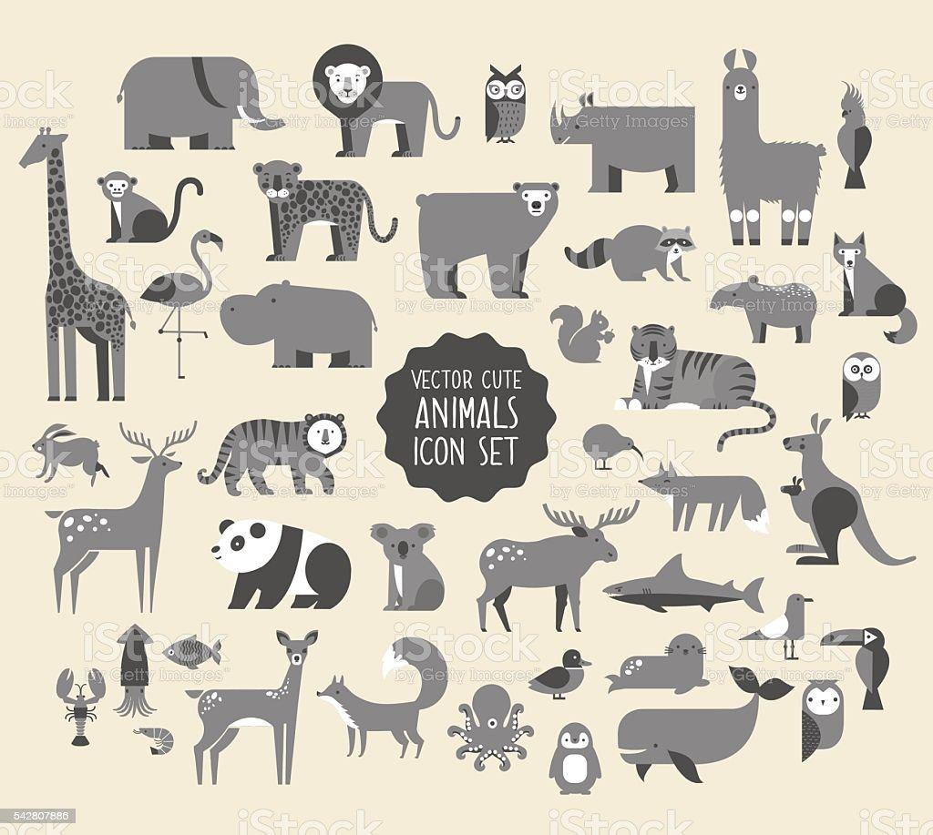 Animal Vector Icon Set. ベクターアートイラスト