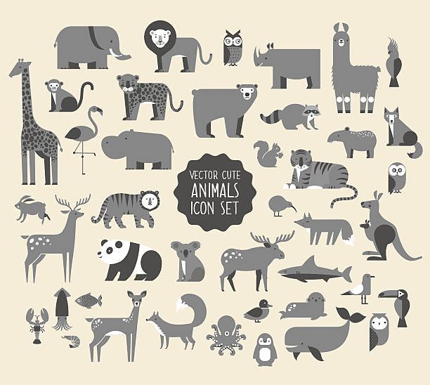 Animal Vector Icon Set. vector art illustration