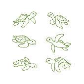 Cartoon turtle sketch line icon. Kawaii animals icons set. Childish print for nursery, kids apparel, poster, postcard, pattern.