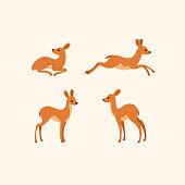 Cartoon deer sketch line icon. Сute animals icons set. Childish print for nursery, kids apparel, poster, postcard, pattern.