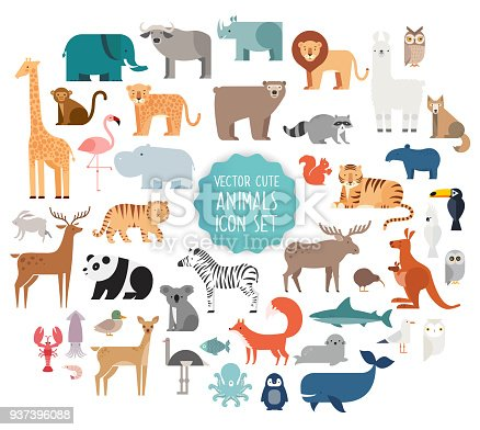 Cute Animal Vector illustration Icon Set isolated on a white background.