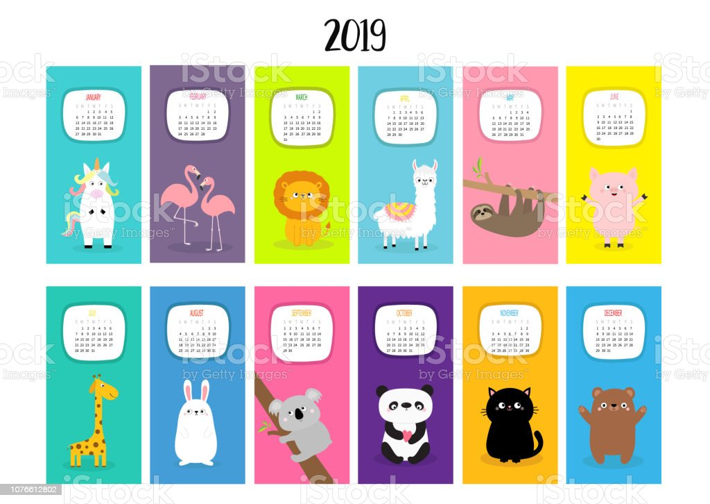 Animal vertical monthly calendar 2019. Alpaca, llama, unicorn, flamingo, sloth, lion, panda, cat, giraffe, bear, rabbit, hare, pig, koala. Cute funny cartoon character set. Flat White background. vector art illustration
