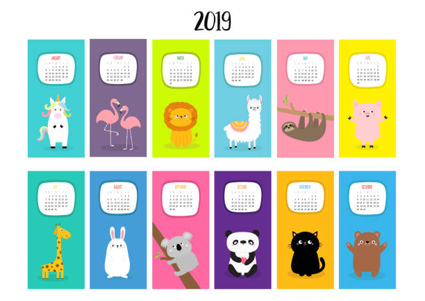 animal vertical monthly calendar 2019. alpaca, llama, unicorn, flamingo, sloth, lion, panda, cat, giraffe, bear, rabbit, hare, pig, koala. cute funny cartoon character set. flat white background. - birds calendar stock illustrations, clip art, cartoons, & icons