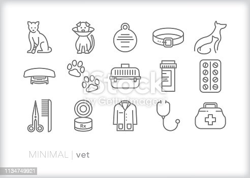 Set of 15 gray vet line icons for animal hospital doctor to take care of pets such as cats and dogs, including routine check-ups and grooming