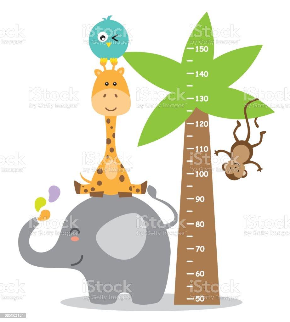Animal wall meter vector art illustration