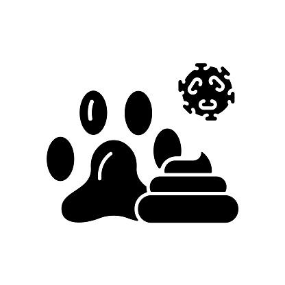 Animal waste black glyph icon