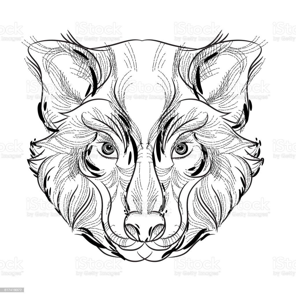Ilustración de Cabeza De Lobo De Animales Bosquejo Diseño Libres De ...