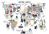 Animal World Map - cute cartoon hand drawn nursery print in scandinavian style. Vector illustration.