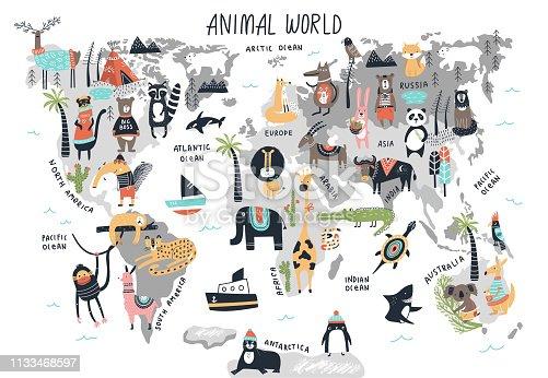 istock Animal World Map - cute cartoon hand drawn nursery print in scandinavian style. Vector illustration 1133468597