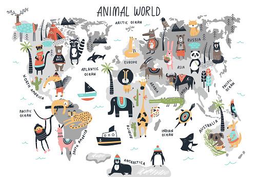 Animal World Map - cute cartoon hand drawn nursery print in scandinavian style. Vector illustration