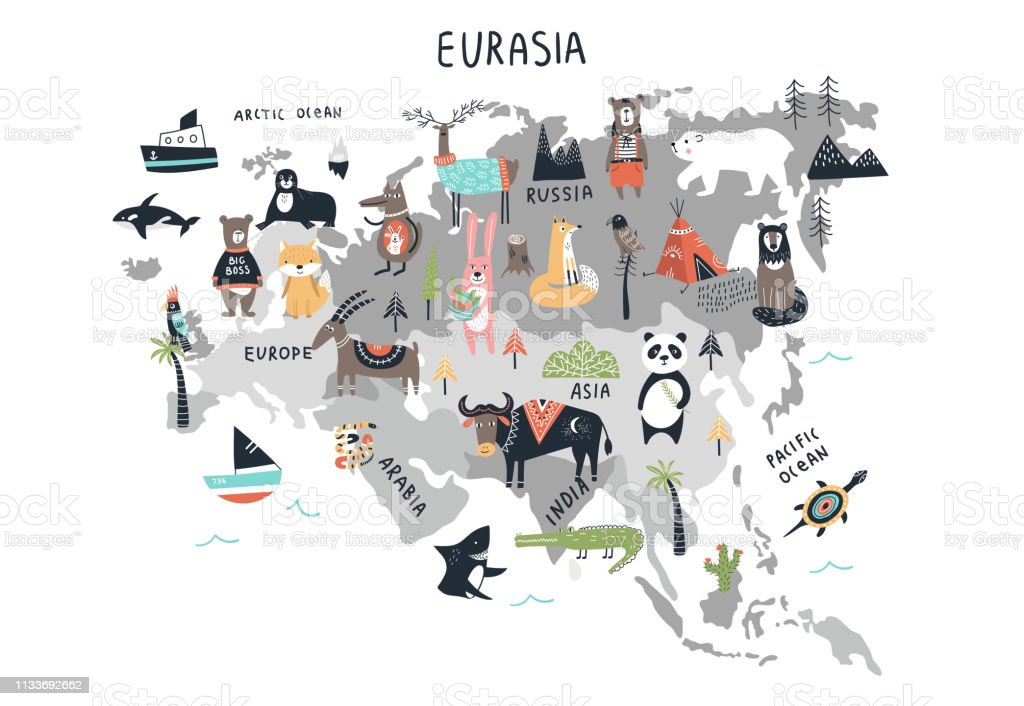 Animal World Map Mainland Eurasia Cute Cartoon Hand Drawn ... on norristown map, franconia map, ambler map, milford map, lafayette hill map, warrington map, upper darby map, blue bell map, souderton map, lansdale map, lincoln university map, frederick map, orkney map, wayne map, conshohocken map, valley forge map, pentland firth map, new hope map, monroeville map, media map,