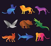 Animal zoo vector icons set. Wild animals vector collection. Jungle animals, vector animals, fox, lion, monkey, cat and dog. Sea and forest animals icon. Pets logo silhouette