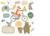 Vector illustration of cute animals with bubbles for placing any text.