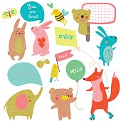 Vector set of template with cute funny animals in cartoon style