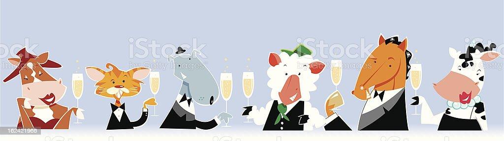 Animales de fiesta vector art illustration