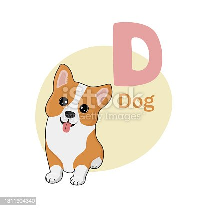 istock Animals alphabet. Cute dog isolated on white background. Vector illustration for teaching children learning a foreign language. 1311904340