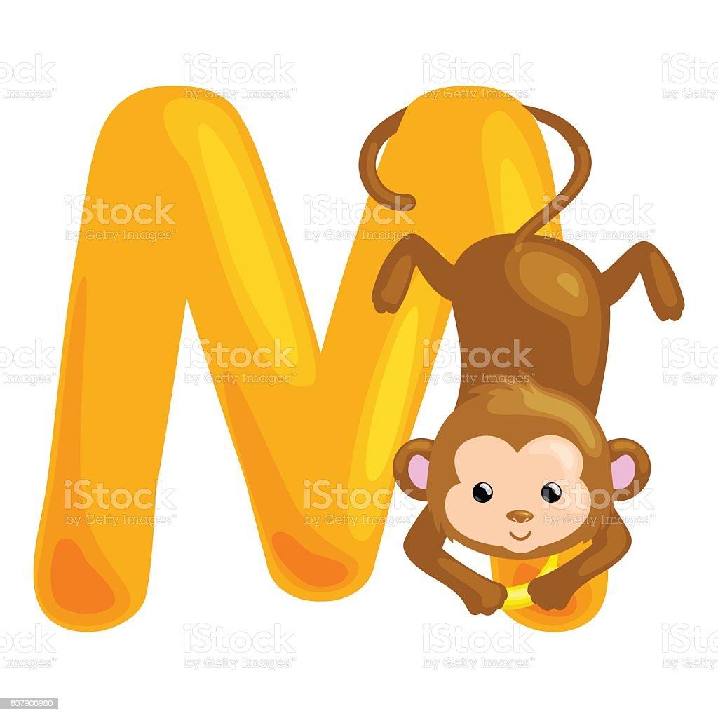 Animals Alphabet For Kids Fish Letter M Cartoon Fun Abc Stock Vector ...