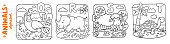 Coloring book or coloring picture of funny quail, rhino, sheep and turtle. Animals zoo alphabet or ABC.