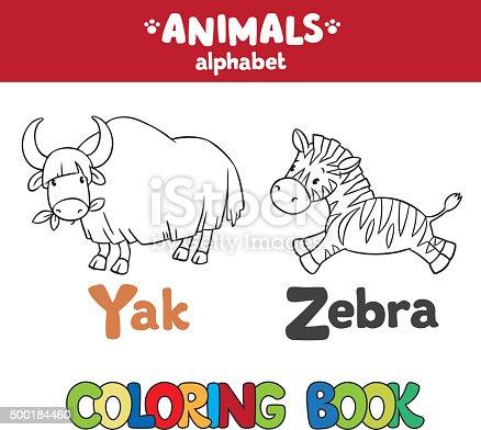istock Funny wild yac libro para colorear. Alfabeto Y 522869761 istock ...
