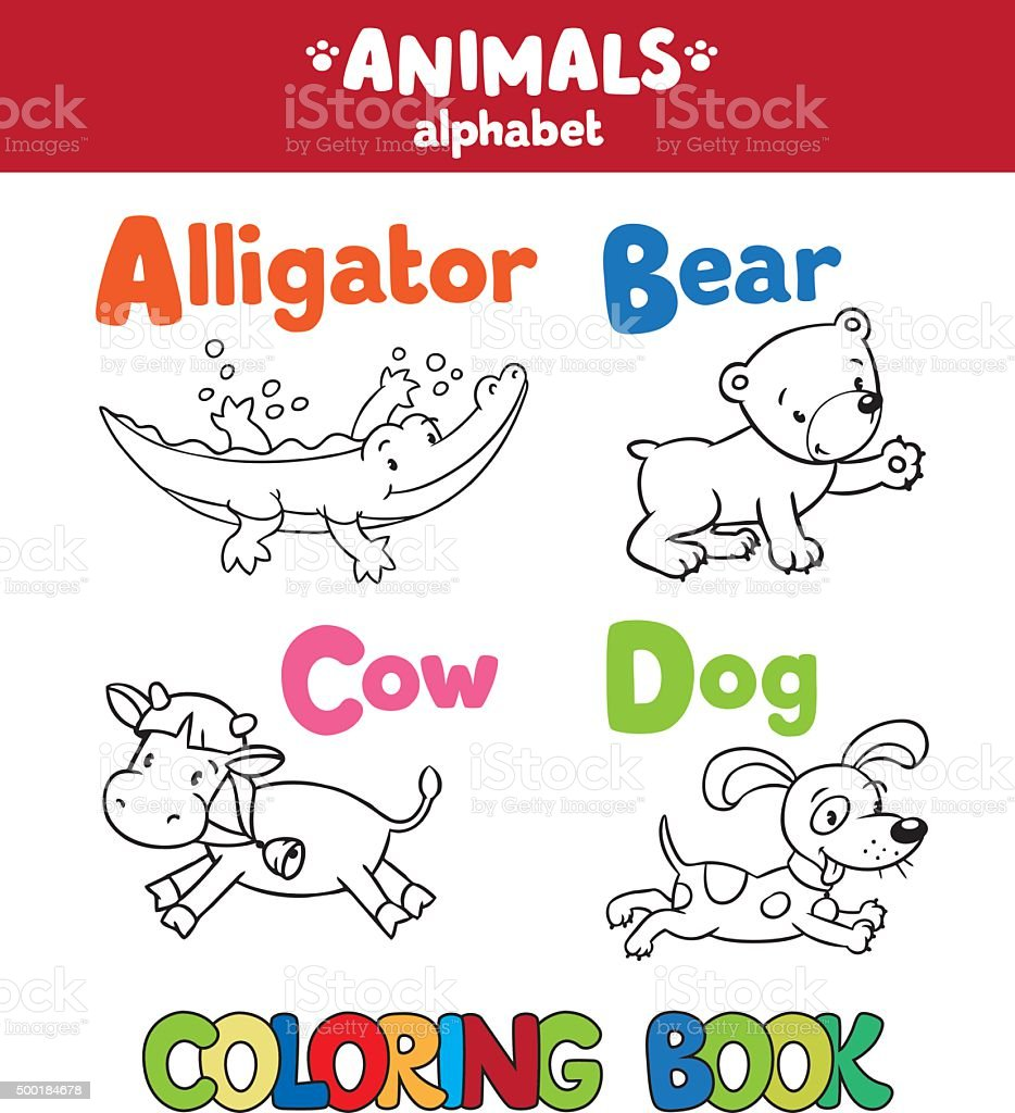 Animals Alphabet Or Abc Coloring Book Stock Illustration ...