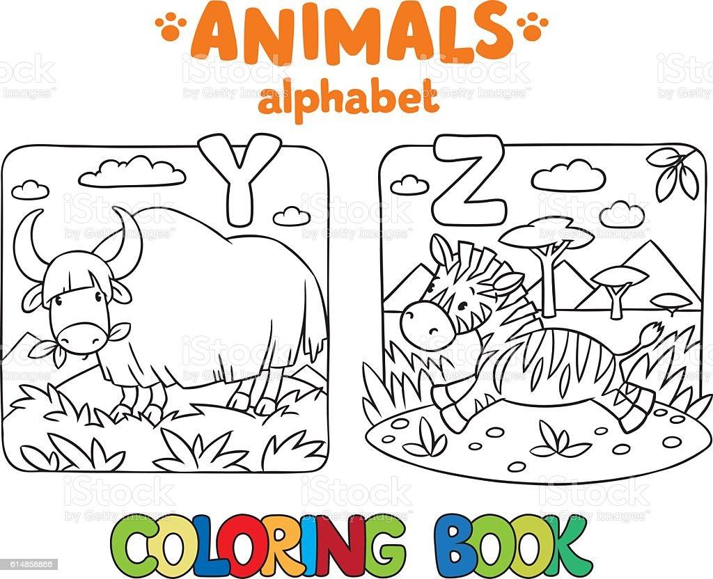 ilustração de animais alfabeto ou abc livro de colorir e mais banco