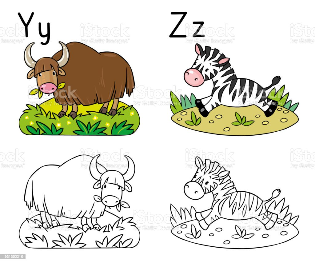 Ilustración de Los Animales Alfabeto O Abc Libro Para Colorear y más ...