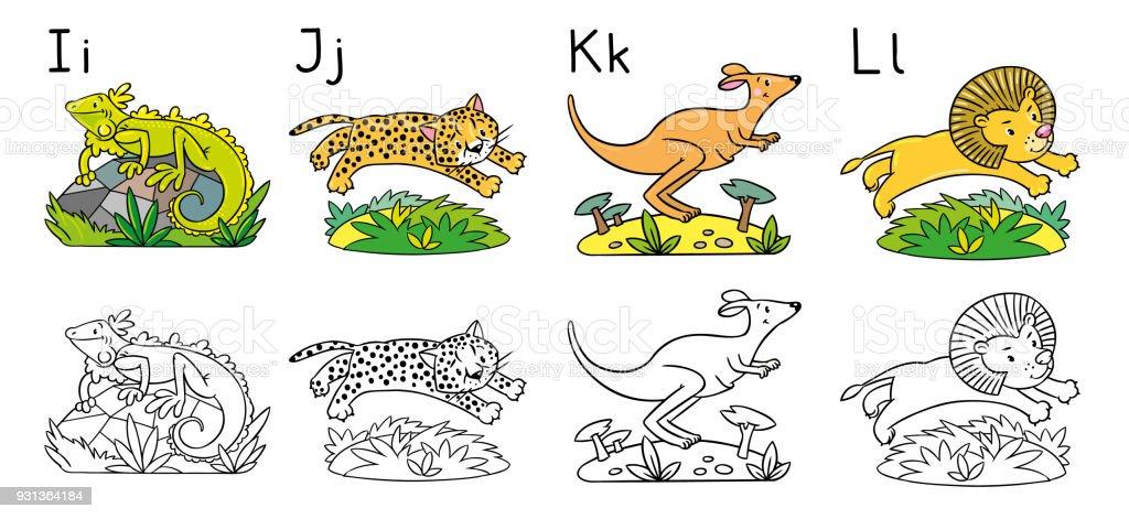 Animals Alphabet Or Abc Coloring Book Stock Vector Art & More Images ...