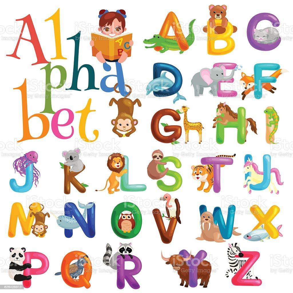 アルファベットセット動物の子供...