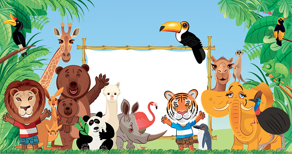 Animals and Bamboo Frame