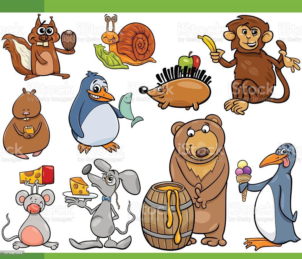 動物食べ物カットイラストのセット - 2015年のベクターアート素材や画像