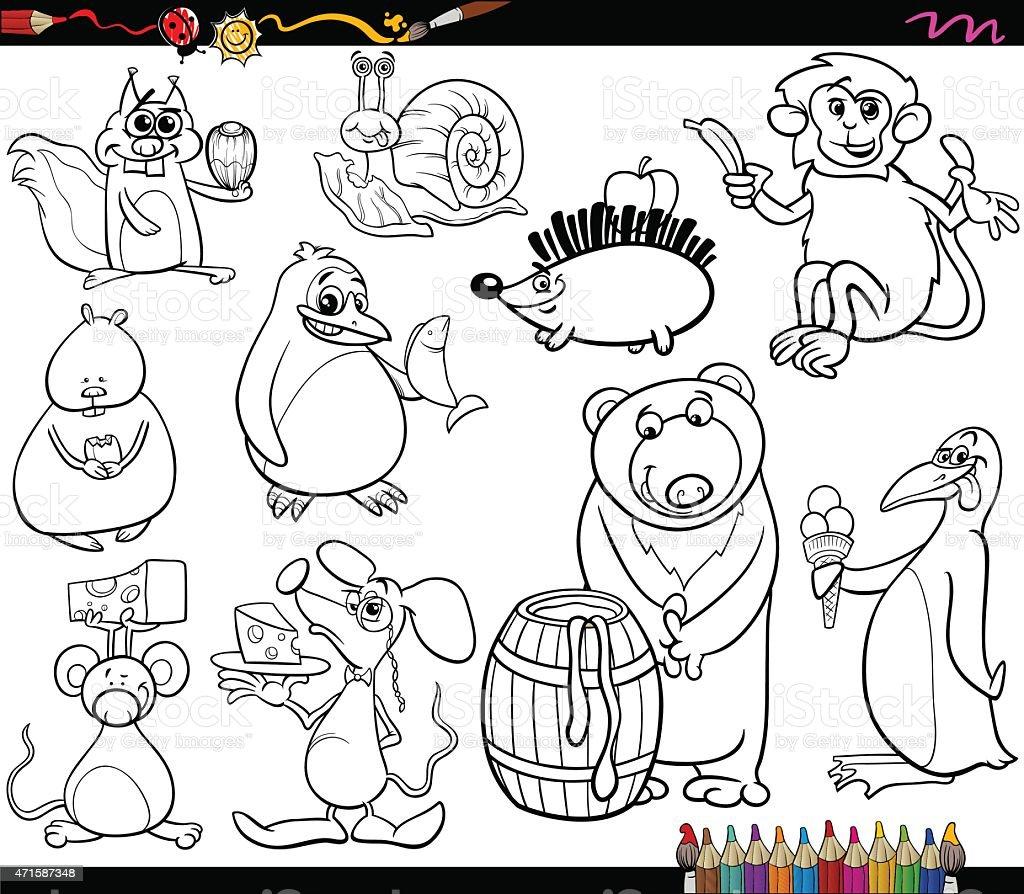 Ilustración de Página Para Colorear De Los Animales Y De Alimentos y ...