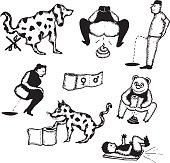 Vector illustration of a set of hand drawn funny animals and human dungs, poo, and water closet icons. Vector eps and high resolution jpeg files included.
