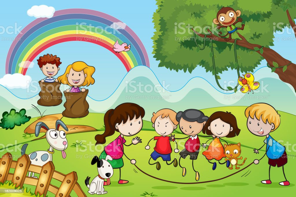 animals and kids royalty-free stock vector art