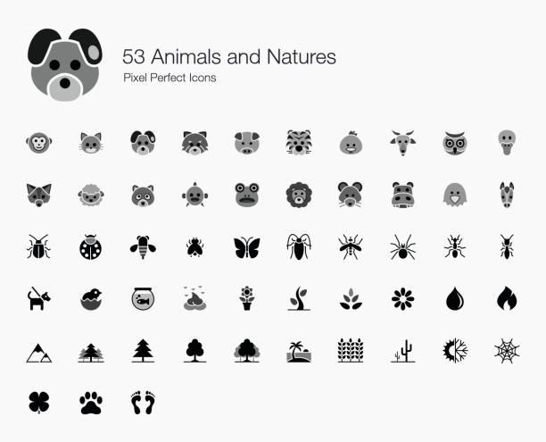 bildbanksillustrationer, clip art samt tecknat material och ikoner med 53 djur och naturer pixel perfect ikoner - hund skog