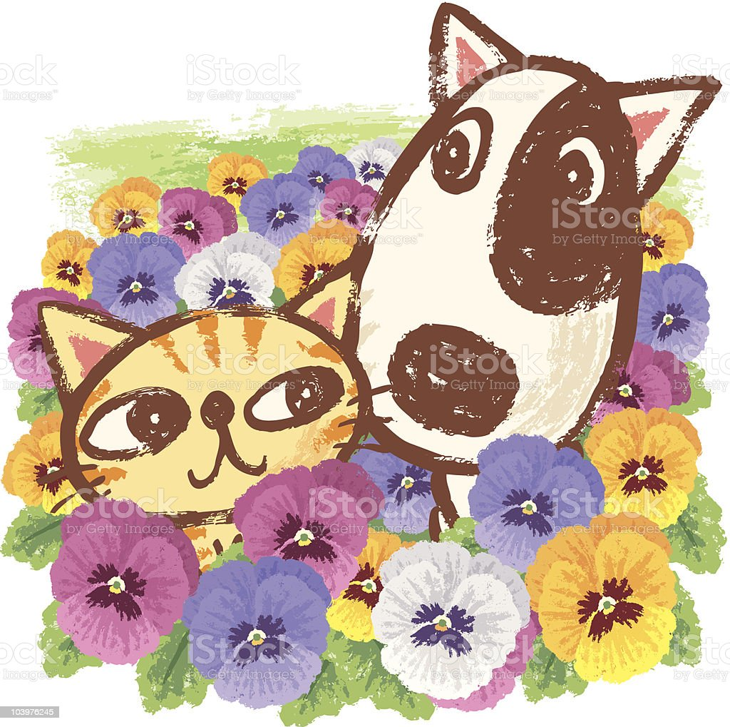 Animals and Pansies vector art illustration