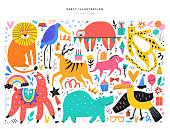 Animals and party symbols vector illustrations set. Cute wild cats, llama, hippo and exotic birds isolated on white background. Cake, icecream, balloons doodles for children holiday celebration