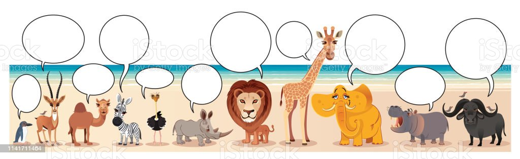 Animals And Speech Bubbles Stock Illustration - Download