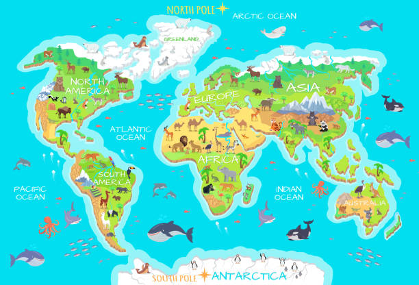 Animals and Where They Live. Our Planet. Earth. World geographical map with flora and fauna. Animals of land, oceans. North and South America, Europe, Asia, Australia, Africa, Antarctica. Vector illustration. Pacific, Atlantic, Indian, Arctic Ocean greenland stock illustrations