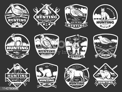 Hunter club badges and hunting society open season icons. Vector hunt ammo rifle gun and traps for wild bear, woodcock and partridge wildfowl, African safari buffalo and mountain sheep or ermine