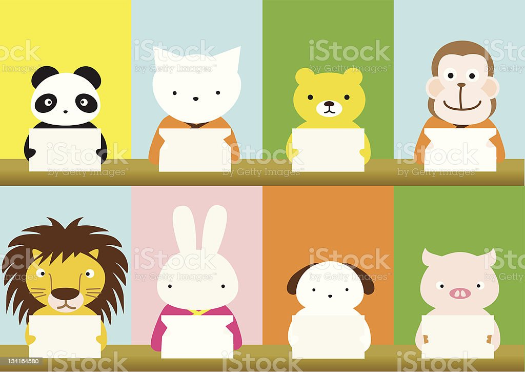 Animals are holding a message card royalty-free stock vector art