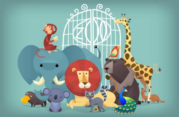 Animals at the zoo Illustration of wild exotic animals standing near the zoo gates. Portrait of group of animals zoo stock illustrations